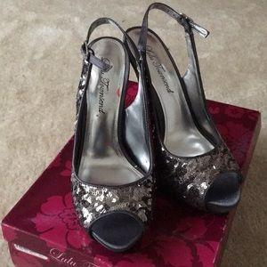 Slate wave sequin heels